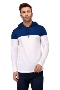 Comfortable and Regular Fit Cotton Color-Blocked Hooded For Men's (White & Blue) (Pack of 1)