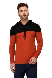 Comfortable and Regular Fit Cotton Color-Blocked Hooded For Men's (Peach) (Pack of 1)