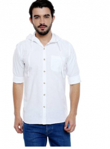 Regular Fit StylishPrinted Cotton Long Sleeves Casual Hooded Shirt For Men's (White) (Pack of 1)