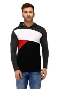 Comfortable and Regular Fit Cotton Color-Blocked Hooded For Men's (Black & Grey) (Pack of 1)