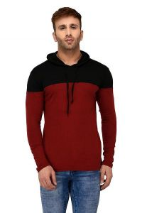 Comfortable and Regular Fit Cotton Color-Blocked Hooded For Men's (Maroon & Black) (Pack of 1)