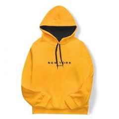 Men's Fashionable and Stylish Printed Pull Over Long Sleeves Hoodies (Yellow)
