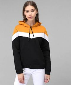 Fleece Fabric Self Pattern Pullover Sweatshirt with white Details for Womens (Mustard)