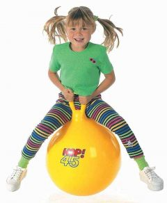 Sit And Bounce Rubber Hop Ball For Kids With Random Handle Designs (Pack Of 1)