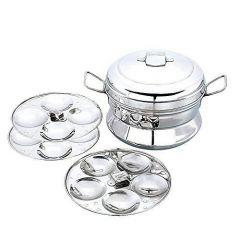 Stainless Steel IDLI Maker|Pot|Cooker|Steamer Maker Compatible for Gas & Induction 13 IDLIs