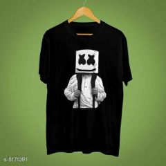 Marshmello Graphic Printed Poly Cotton Round Neck Half Sleeves T-Shirt For Men's (Black)