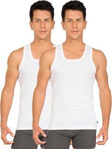 JOCKEY Solid Cotton Square Neck Stylish Vest For Men's (White) (Pack of 2)