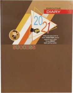 Toss 2021 B5 Diary Ruled 330 Pages (Brown) (J-128) (Pack Of 1)