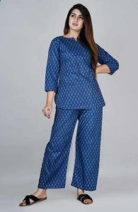 Women's Regular Fit Cotton Butta Printed Night Suit With Palazzo