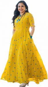 Women's Fashionable Rayon Mirror Embroidery Anarkali Kurta For Women's (Yellow)