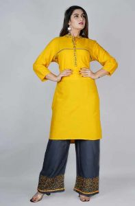 Regular Fit Rayon Embroidery Kurta With Mirror Work Palazzo For Women's