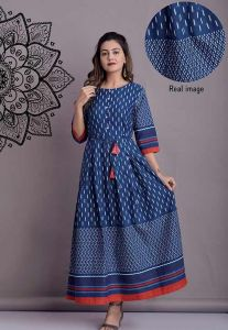 Comfortable and Regular Fit Cotton Flex Indigo Printed Kurta With Dori Belt For Women's (Blue)