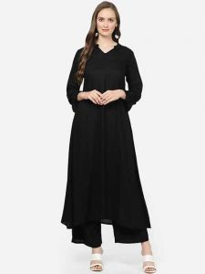 Comfortable and Regular Fit Solid Rayon Kurta With Palazzo For Women's (Black)