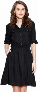 Comfortable and Regular Fit Solid Rayon Top With Pockets For Women's (Black)