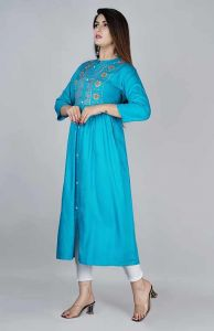 Comfortable and Regular Fit Casual Rayon Embroidery Kurta With 3/4 Sleeves For Women's