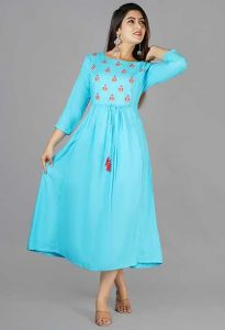 Fashionable and Stylish Casual Rayon Kurta With Embroidery Work For Women's (Sky Blue)