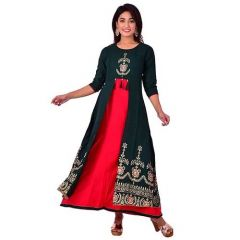 Fashionable and Stylish Rayon Gold Printed Kurta With Gotta Lace For Women's (Bottle Green)