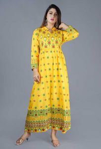 Fashionable and Stylish Rayon Printed Kurta With Gotta Lace For Women's (Multi-Color)