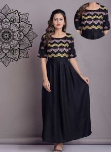 Fashionable and Stylish Ankle-Length Indo-Western Half Sleeve Rayon Kurta (Black)