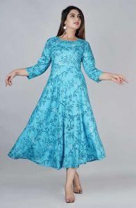 Fashionable and Style Rayon Brid Printed Flared Kurta With 3/4 Sleeve (Aqua Blue)