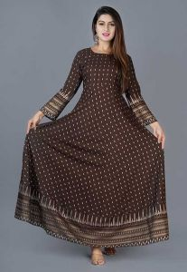 Stylish and Fashionable Printed Full Sleeve Rayon Gown Kurta For Women's (Brown)