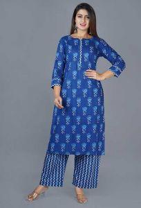 Fashionable and Stylish Block Printed Indigo Cotton Kurta With Lehriya Pant For Women's (Blue)