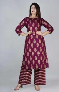 Gold Printed Rayon Kurta Fashionable and Stylish 3/4 Sleeve With Palazzo Set For Women's
