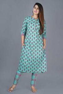 Block Printed Cotton Kurta Fashionable and Stylish  3/4 Sleeve With Lining Pant For Women's (Aqua Green)