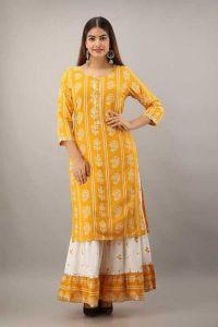 Bhandej Printed Rayon Kurta 3/4 Sleeve & Skirt Set Fashionable and Stylish For Women's