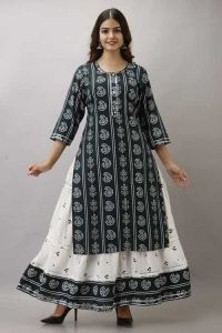 Fashionable and Stylish Bhandej Printed Rayon Kurta 3/4 Sleeve With Skirt For Women's