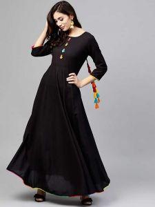 Fashionable and Stylish Solid Printed Rayon Pom Pom Kurti 3/4 Sleeve With Palazzo Set For Women's (Black)