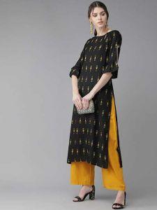 Fashionable and Stylish Solid Printed Rayon Kurta & Palazzo Set For Women's (Black & Mustard)