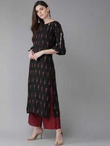 Solid Printed Rayon Kurta & Palazzo Set Fashionable and Stylish For Women's (Black & Maroon)