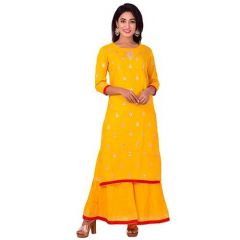 Fashionable and Stylish Gotta Printed Rayon Straight Kurta & Sharara Set For Women's