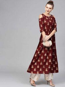 Women's Fashionable and Stylish Gold Printed Rayon Gown Kurta