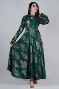 Fashionable and Stylish Printed Rayon Anarkali Floor Lenght Kurta For Women's