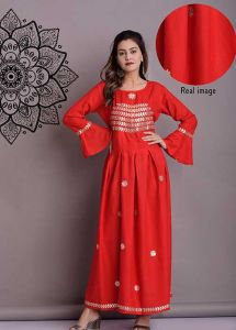 Fashionable and Stylish Embroidery Rayon Flared Kurta With Gotta Work For Women's (Red)