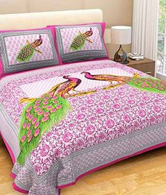 Fabric Empire Bedsheet and 2 Cushion Cover King Size Jaipuri Print of Cotton Fabric (Pack of 3)