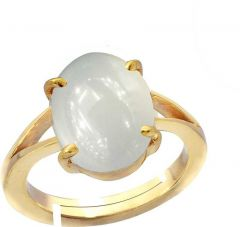 Jewelzon Moonstone 4.8cts or 5.25ratti Panchdhatu Ring For Female | Adjustable | Metal Moonstone | Gold Plated Ring