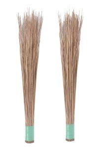Apro The Plant Shop Coconut Jharu Fiber Broomstick For Wet Floor, Garden, Outdoor Cleaning Brooms (Brown) (Pack of 2)