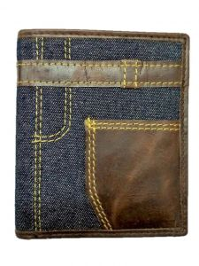 ASPENLEATHER Genuine Canvas Leather Wallet For Men (Blue)