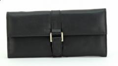 ASPENLEATHER Designer Leather Jewellery Roll Bag For Women (Black)