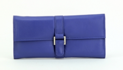 ASPENLEATHER Designer Leather Jewellery Roll Bag For Women (Blue)