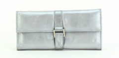 ASPENLEATHER Designer Leather Jewellery Roll Bag For Women (Silver)