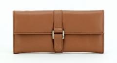 ASPENLEATHER Designer Leather Jewellery Roll Bag For Women (Tan)