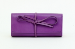 ASPENLEATHER Designer Leather Jewellery Roll Bag For Women (Purple)