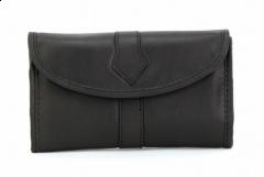ASPENLEATHER Roll Designer Leather Jewellery Bag For Women (Black)