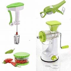 Fruit and Vegetable Juicer, Plastic Vegetable Cutter with Peeler, Garlic, Chilly and Dry Fruits Multi Crusher Chopper, Manual Power Free Cute Blander (Pack of 4)