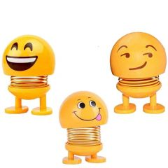 Cute Bobble-Head Funny Smiley Face Emoticon Figure Spring Dolls Bounce Toys for Car Interior