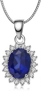 Jewelzon Rhodium Sapphire, Sterling Silver Pendant Cubic Zirconia